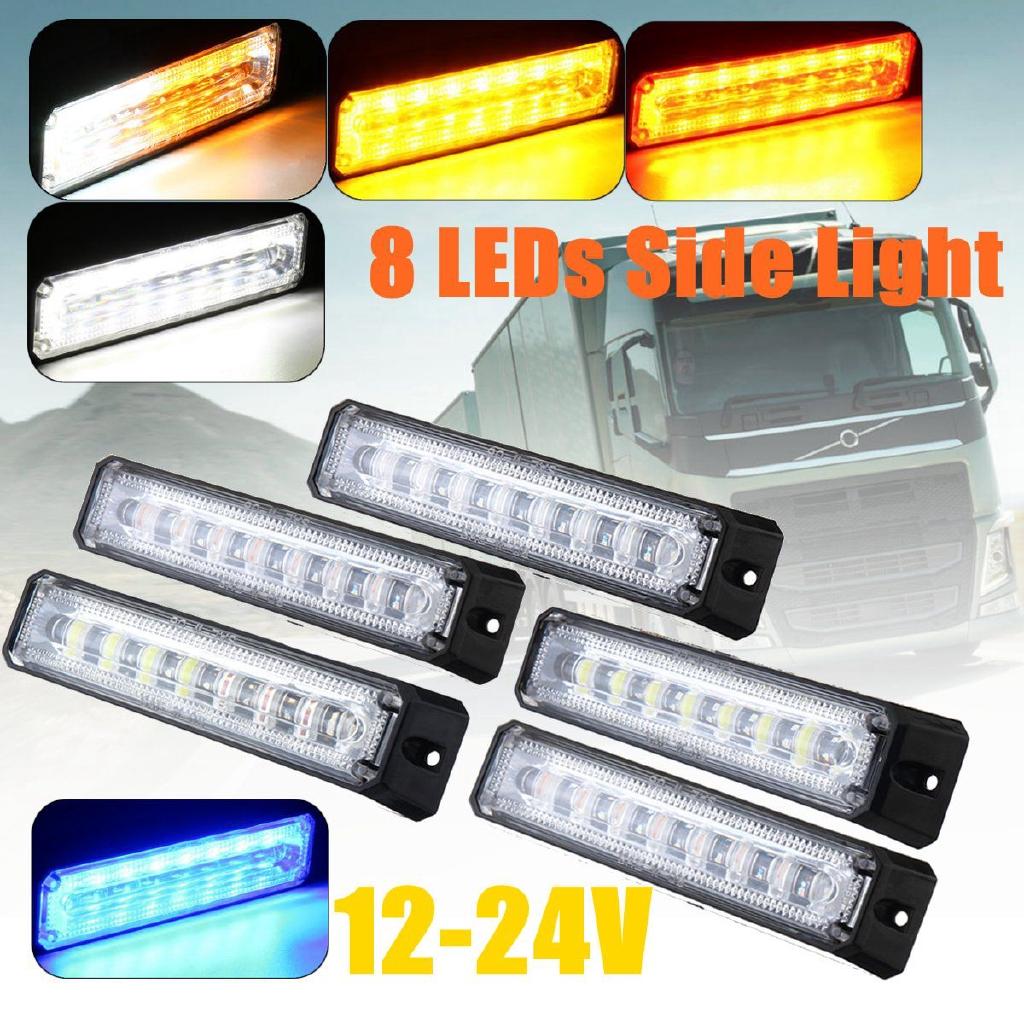 10PCS 24V 6LED Trailer Side Marker Clearance Rectangular Light Bar Truck 5 Color