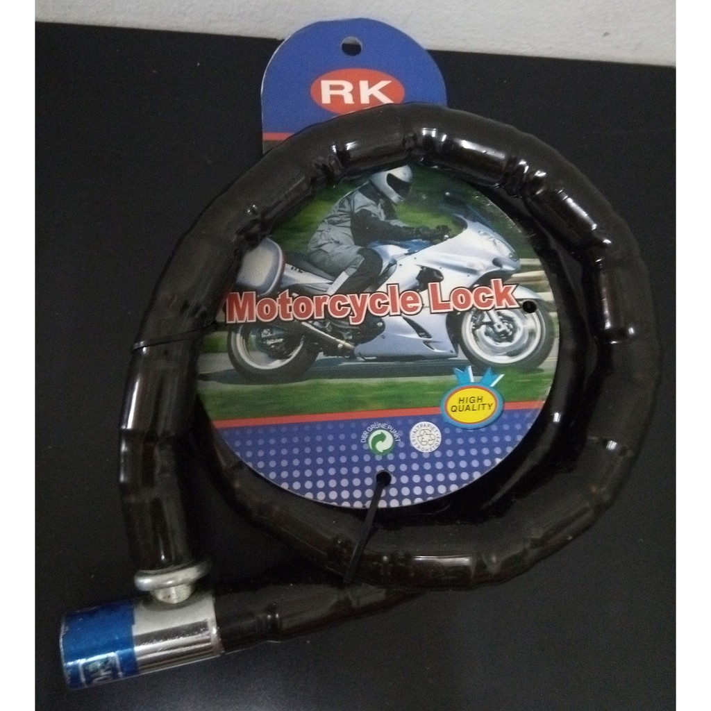 Black RK Motorcycle Joint Cable Steel Lock 20 x 1000mm