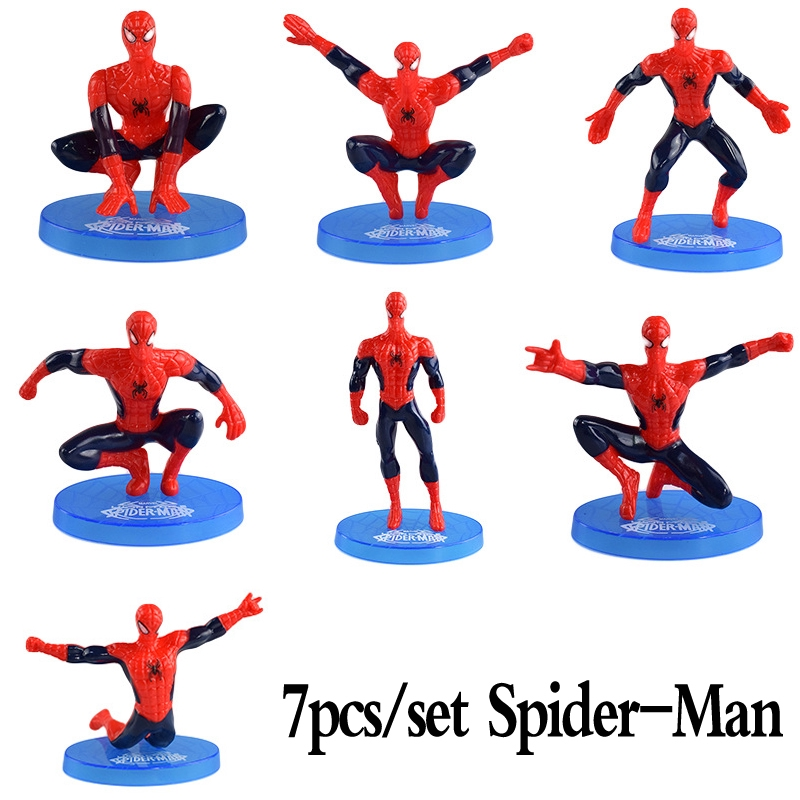 7Pcs Cake Topper Figure Birthday Characters SPIDERMAN Action Figures Toys Gifts