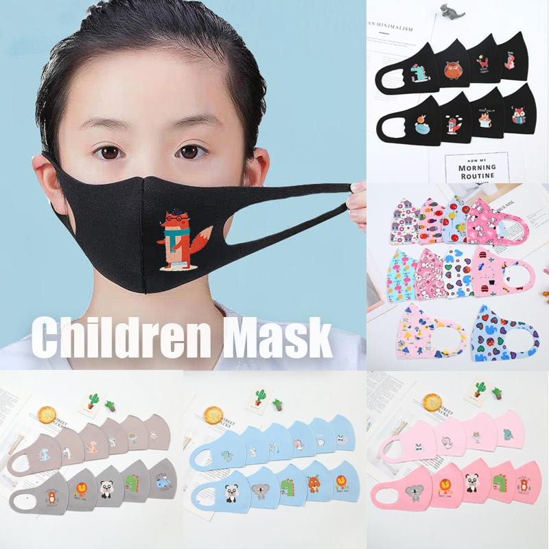 New! 1pc Kids Sponge Mask Cartoon Washable Protective Mouth Mask Printing Dustproof Breathable Face Mask