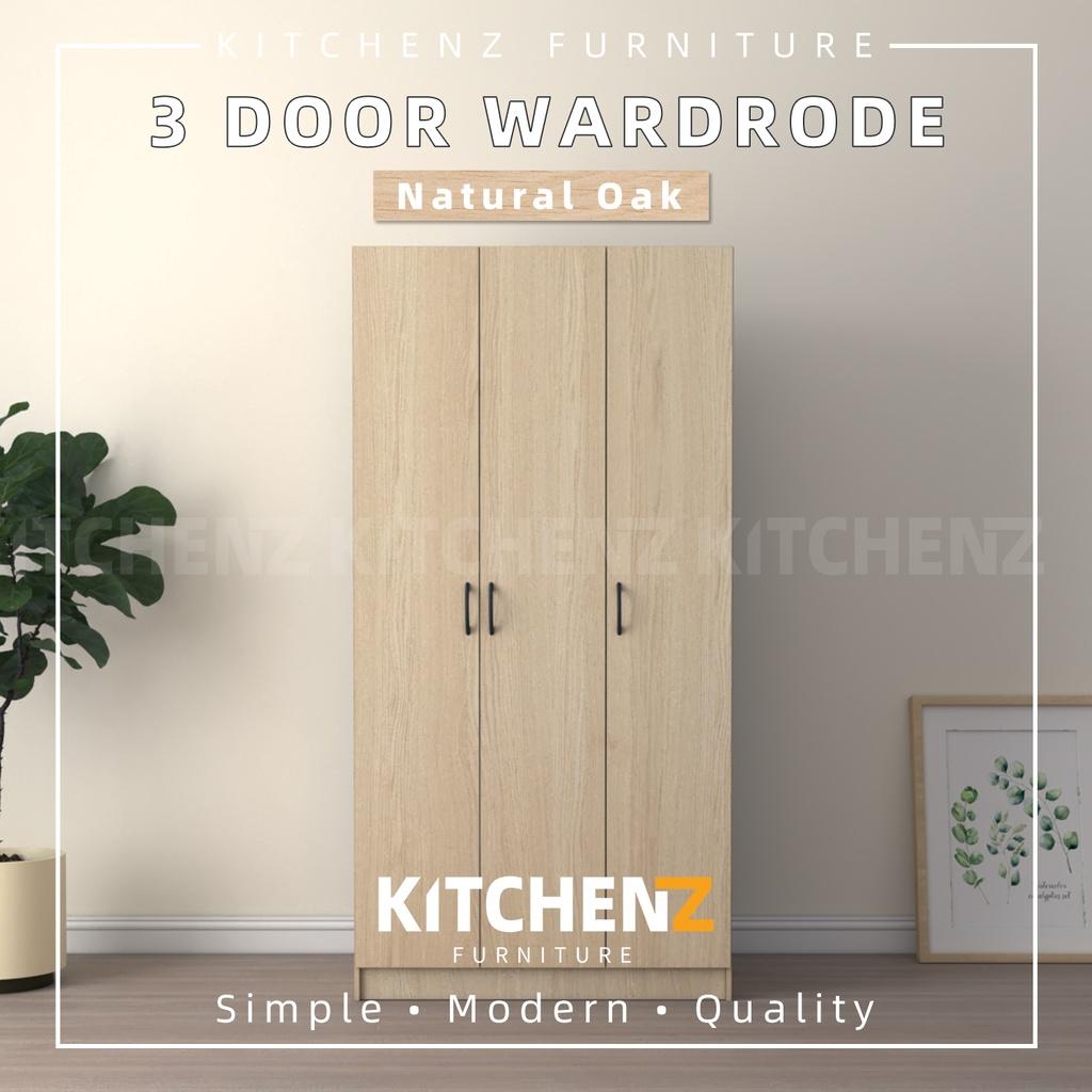 Homez 3 Door Wardrobe Solid Board HMZ-WD-DT-6001 with 6 Shelves - 3 ft