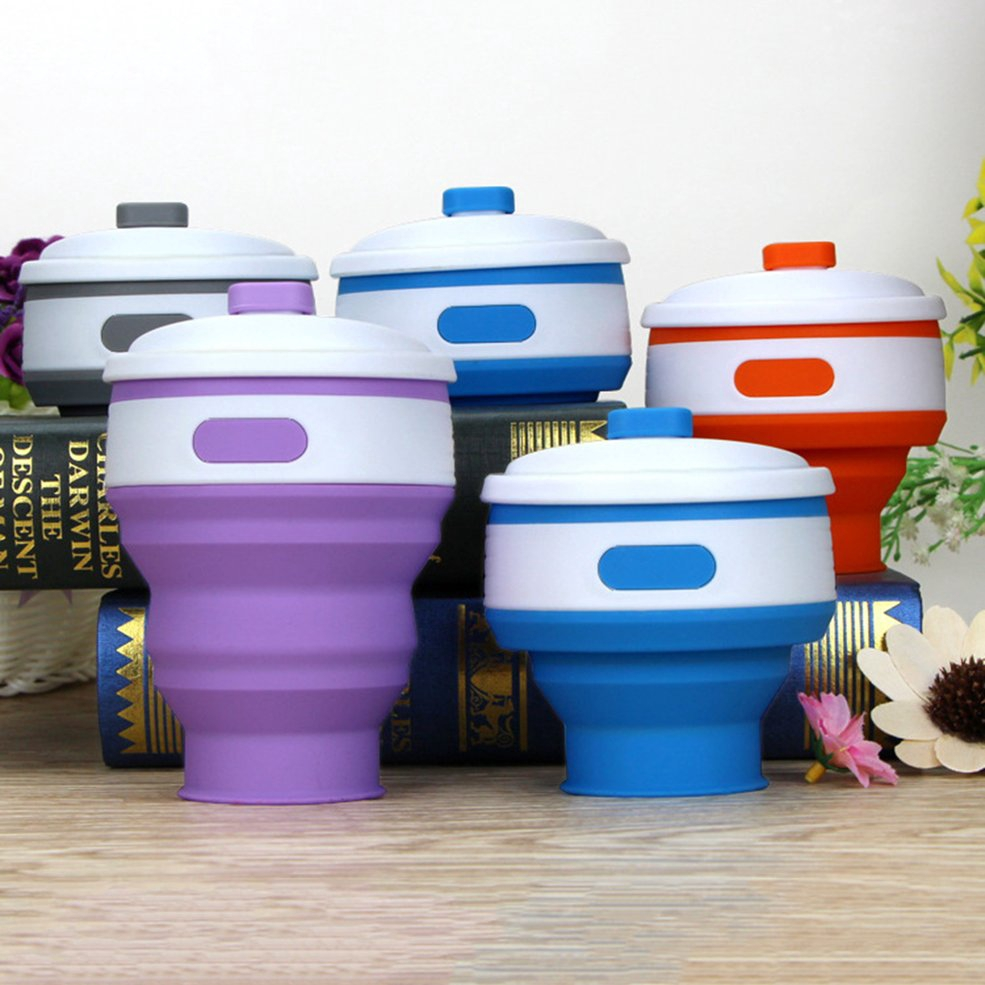 300ml Silicone Collapsible Cup Reusable Portable Folded Coffee Water Cup