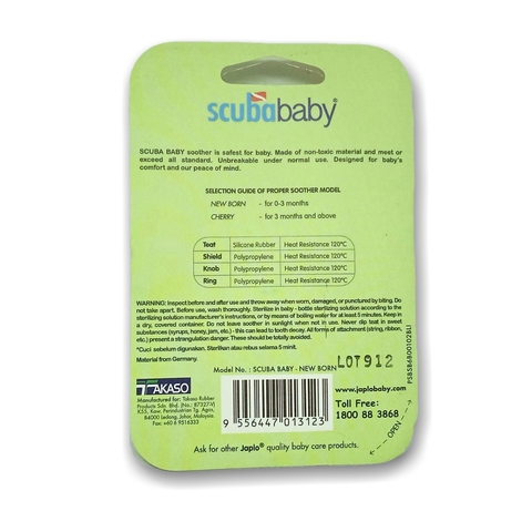 Scuba Baby Soother Newborn Puting Bayi Silicone Rubber