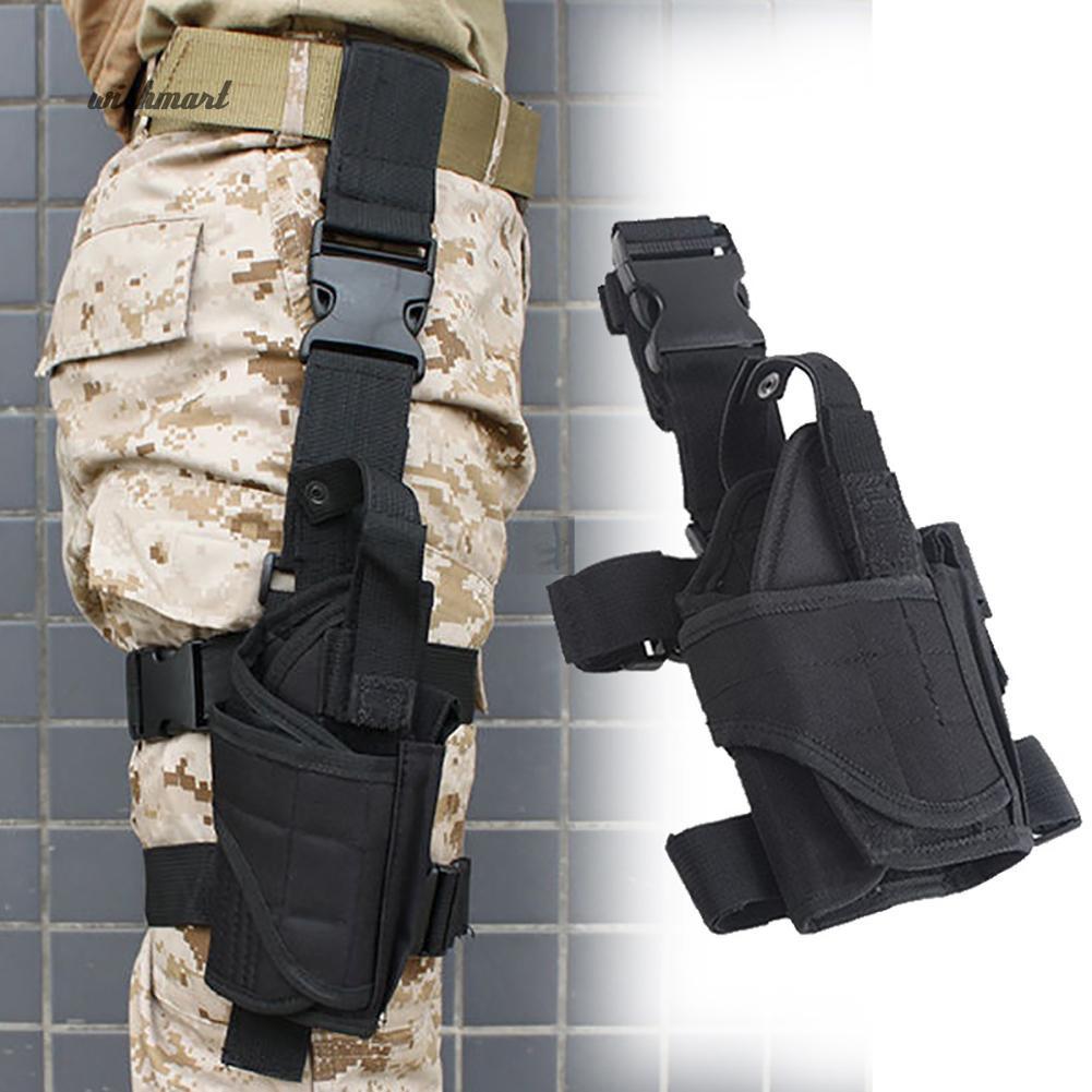 Adjustable Tactical Army Pistol Gun Drop Leg Thigh Holster w Meg Pouch Black