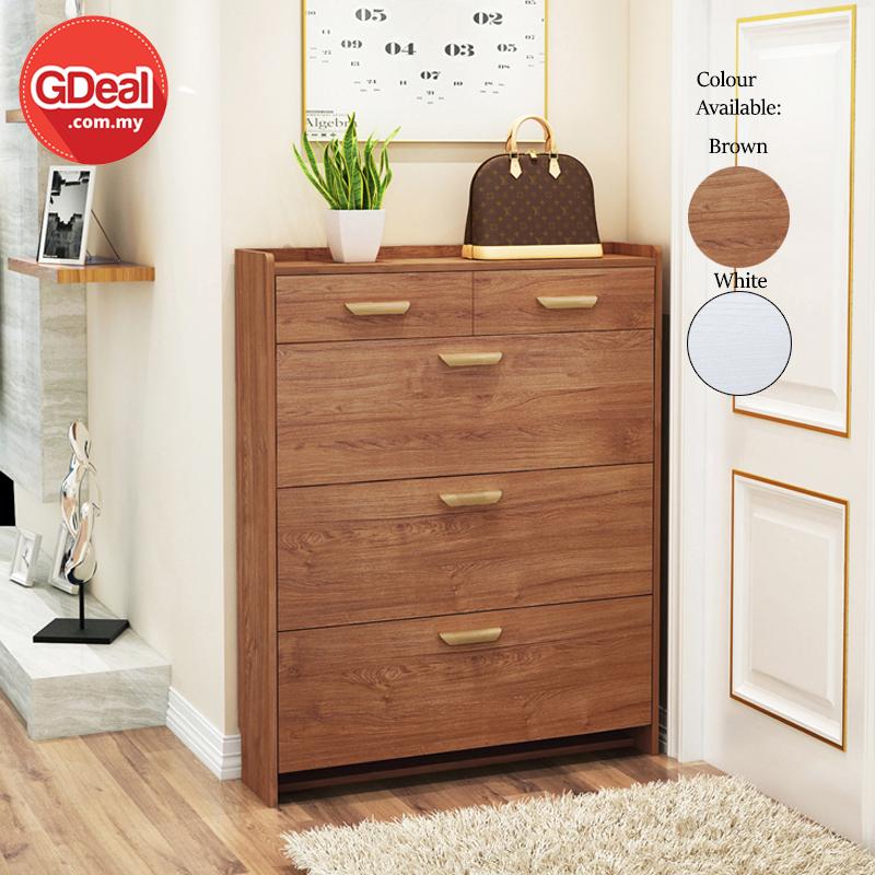 GDeal  Simple Modern Nordic 17cm Width Ultra-thin Wooden Shoe Storage Cabinet With 2 Drawers Kabinet Kasut کابينيت کاسوت