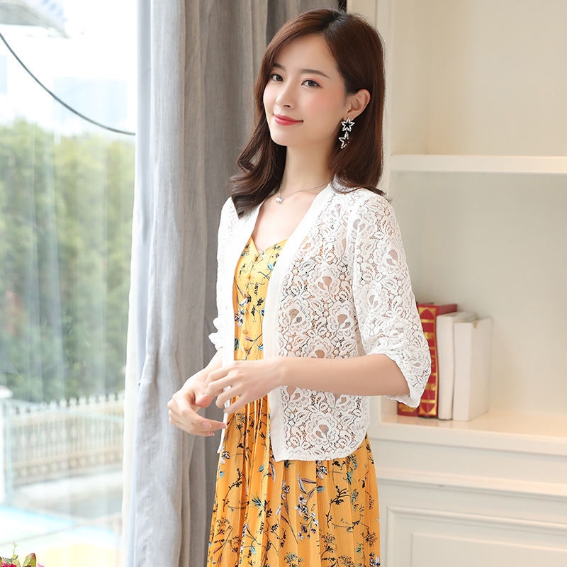 10311fcf5a Women Cardigan Short Sleeve Lace Hollow Casual Blouse