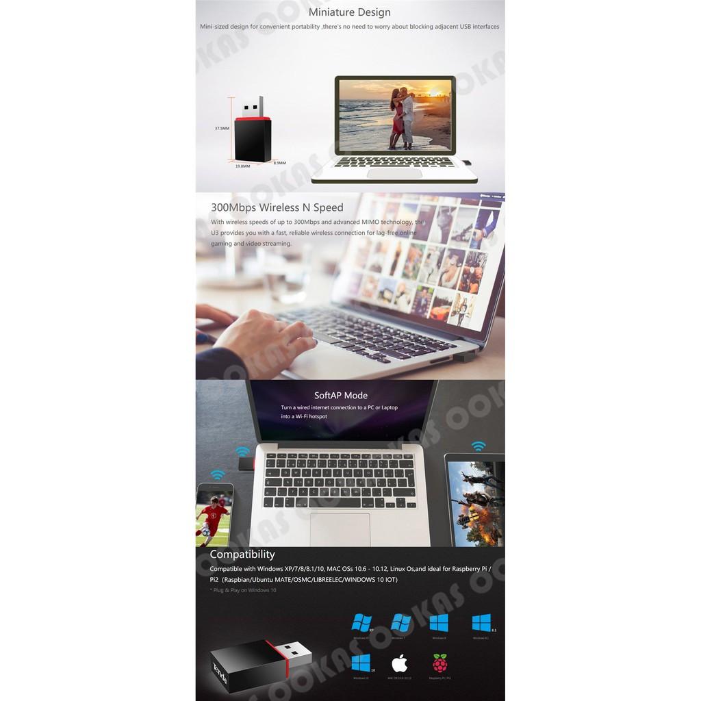 TENDA U3 300MBPS Mini USB Wireless WiFi Adapter with MIMO
