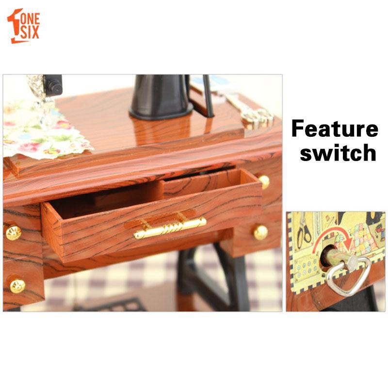 Mini Vintage Retro Simulation Garden Sewing Machine Clockwork Music Box for Gift Table Decoration