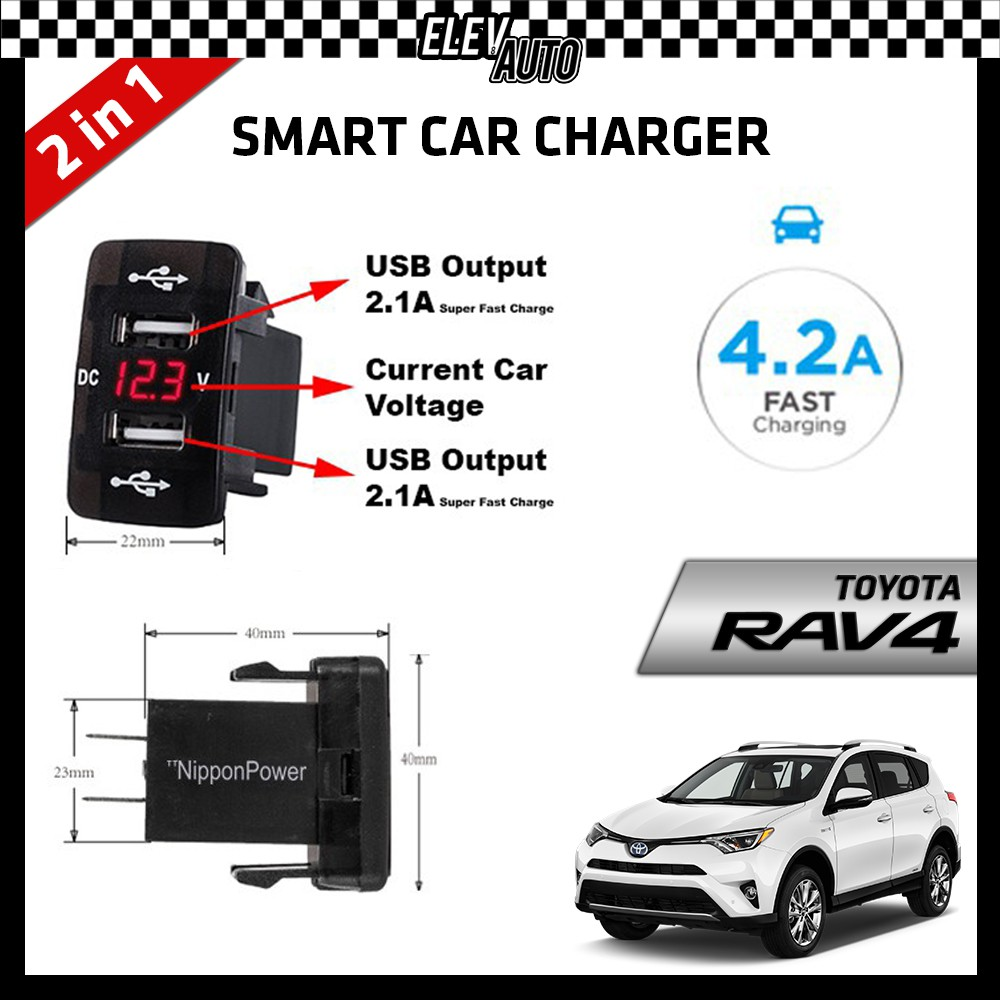 DUAL USB Built-In Smart Car Charger with Voltage Display Toyota RAV4