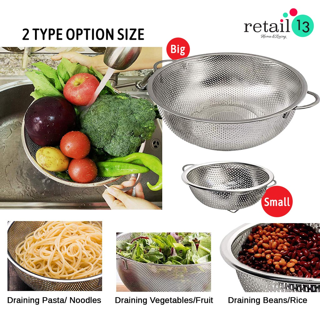 Spaghetti Vegetable Strainer Pasta Colander 32cm Heavy Duty Aluminium