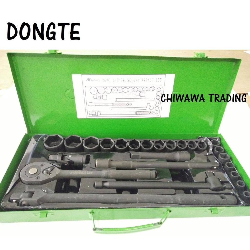 "DONGTE 26pcs 1/2"" Drive Socket Set (Black) 3 years GUARANTEE High Quality Tools"