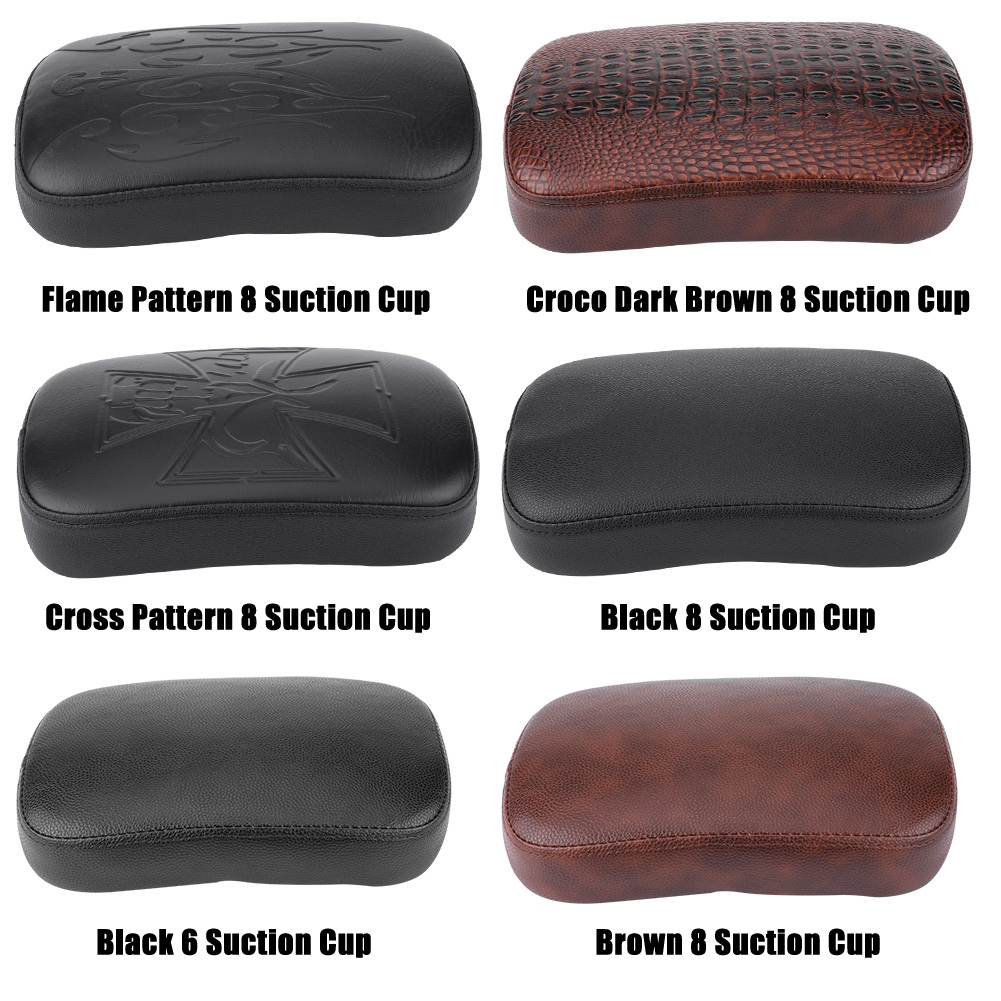 Motorcycle Suction Cup Rear Pillion Passenger Pad Seat for Bobber Chopper Aramox Rear Pillion Passenger Pad 8 Suction Cup-Flame Pattern