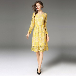 Spring Womens Lace Dress Elegant Fashion Hollow Out Vestido Business Casual Slim Sexy O Neck Work Party Dresses
