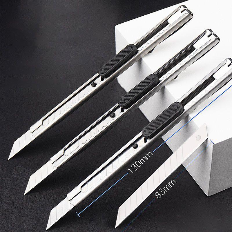 不锈钢美工刀金属裁纸刀 加厚刀片小号雕刻刀拆快递小刀壁纸刀1pcs
