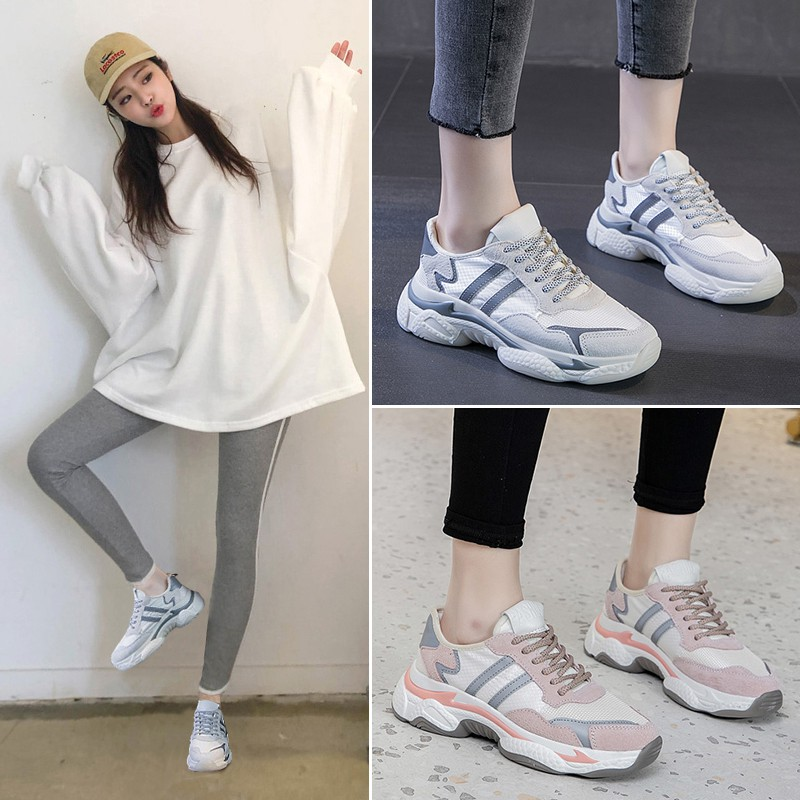 Texture Stripe Gray Ladies Sneakers for Women Sports Shock Absorption Running Shoes