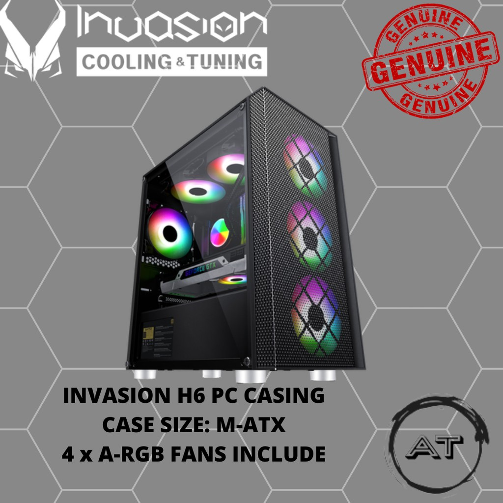 Invasion H6 (MIA Gaming Special Edition) with 4 aRGB Fans mATX Gaming Casing