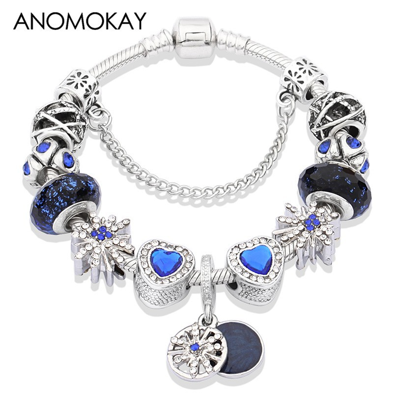 Royal Blue Crystal Charm Bracelet Star