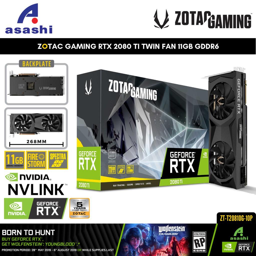 ZOTAC GAMING RTX 2080 TI Twin Fan 11GB GDDR6 Graphic Card | 2080TI  RTX2080TI | ZT-T20810G-10P