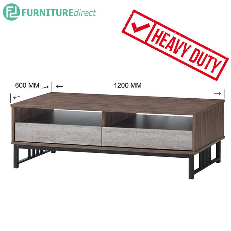 VERA heavy duty metal frame 4 feet coffee table with 2 drawers
