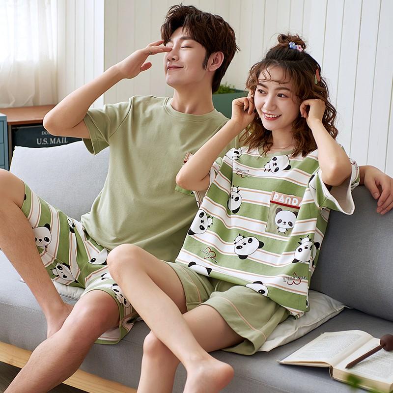 KM Mens and Womens Summer Stripes Short-Sleeve Cotton Loungewear Banana Printing Pajamas Set