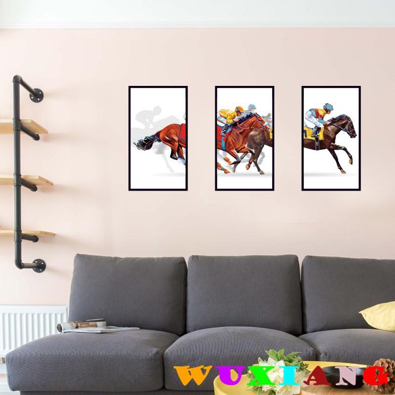 Wuxiang Gambar Kuda Kuda Bingkai Bilik Hiasan Dinding Pelekat Sk9191