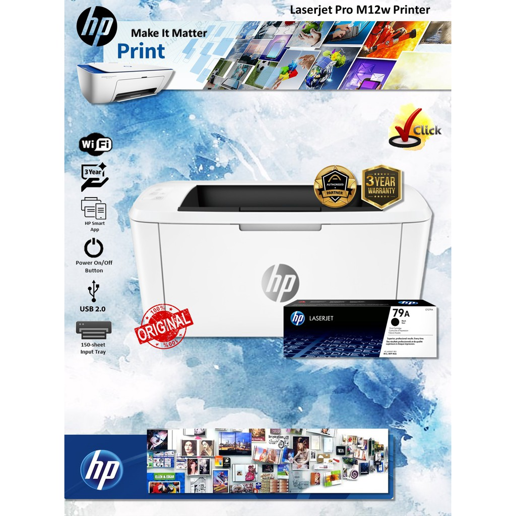 HP LaserJet PRO M12W Monochrome Single Function Wireless Printer - T0L46A
