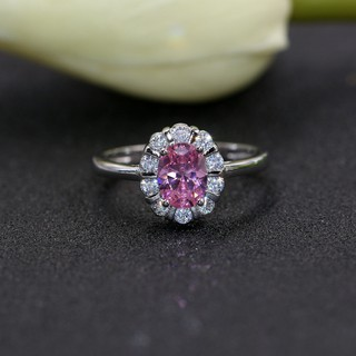 Women'S Wedding Ring With Pink Stone Crystal Engagement Rings