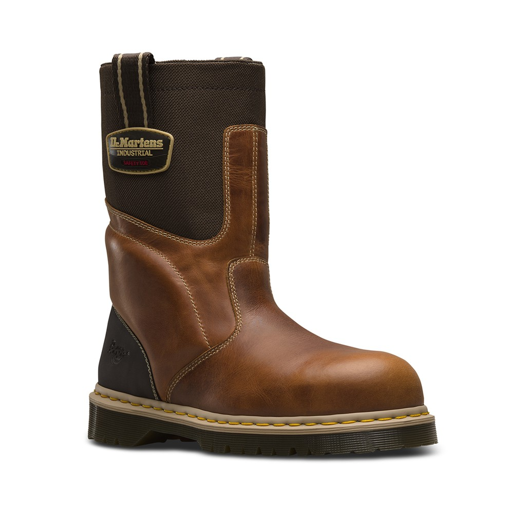 65f3301a990 DR MARTENS HOWK STEEL TOE TAN+DARK BROWN INDUSTRIAL WAXYTOUGH NYLON 22387220