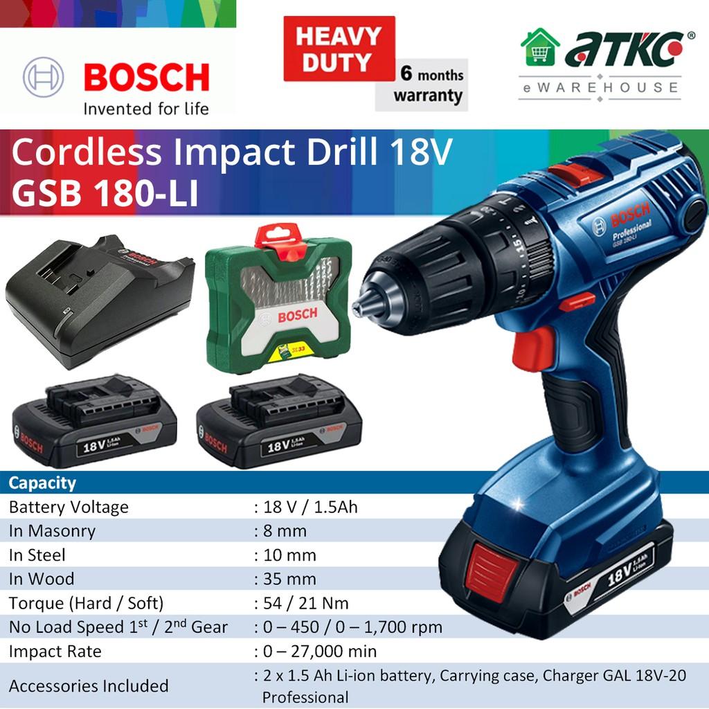 BOSCH GSB 180-LI Cordless Impact Drill/Driver Professional 18V 1.5Ah (06019F83L0)