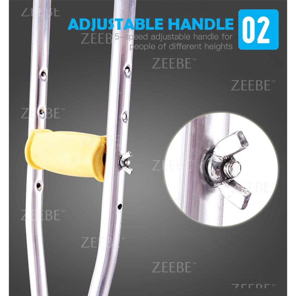 ZEEBE Tongkat Ketiak Bantu Jalan Aluminium Height Adjustable