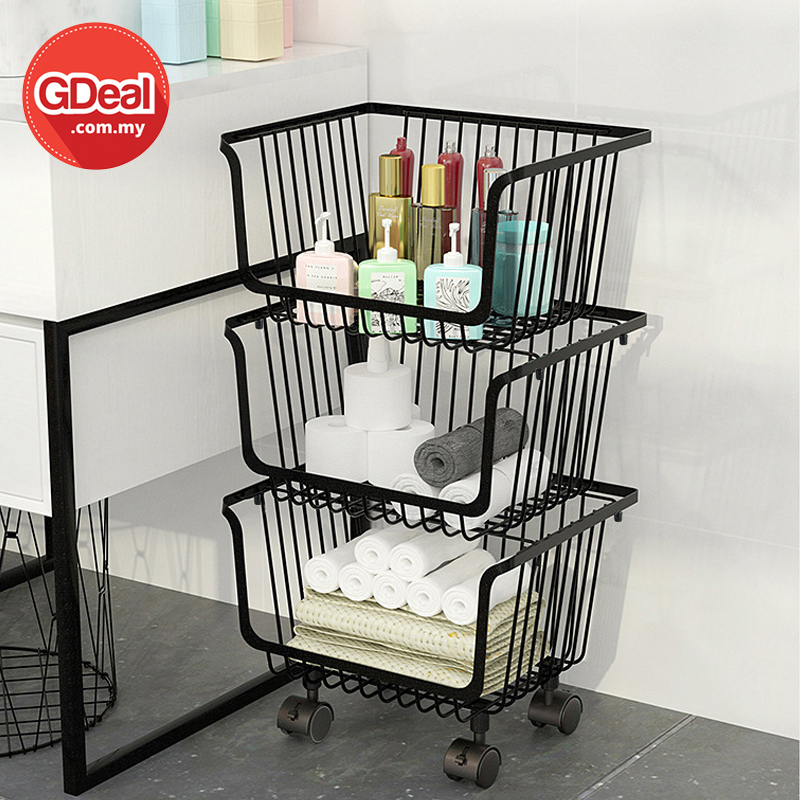 GDeal Home Living 3 Tier Kitchen Vegetable Trolley Shelf Rack Metal Storage Cart With Wheels