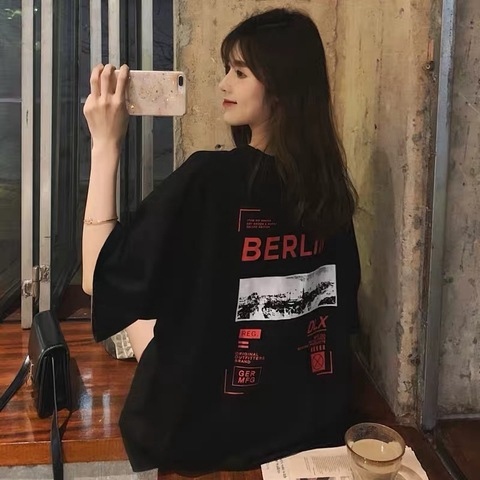 [M~2XL]Korean short-sleeved t-shirt female 韩版宽松短袖t恤