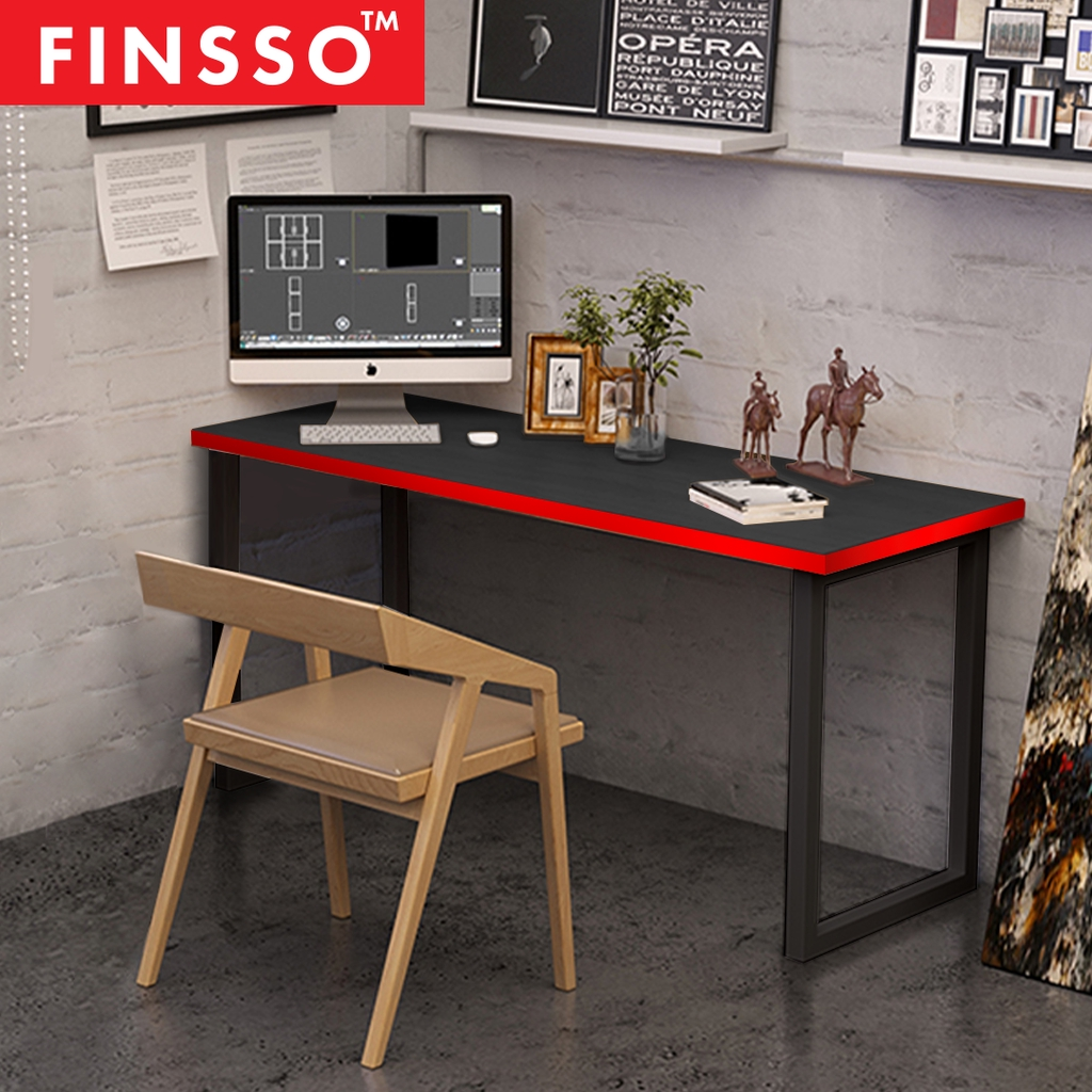 Finsso Black Computer Gaming Desk Wooden Desk Gaming Table Study Table Meja Shopee Malaysia