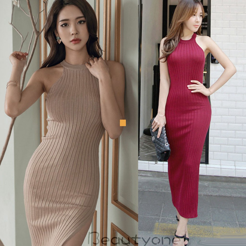 a482852e9df 🌟Women Knitted Slim Sleeveless Split Sexy Party Bodycon Dress