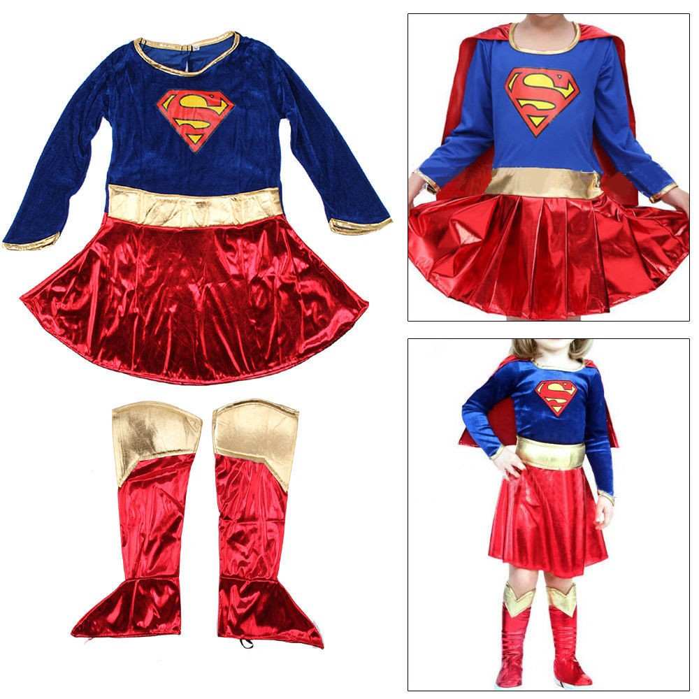 Kid Children Supergirl Costume Superhero Fancy Dress Party Outfit Cover Book Day