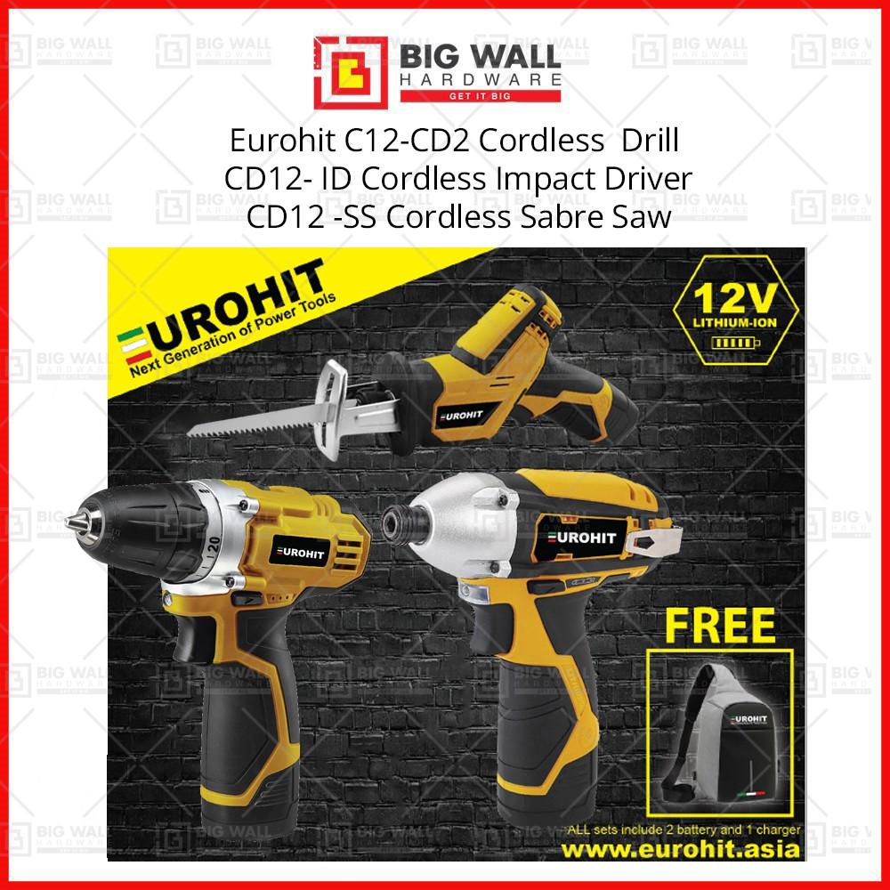 Eurohit Combo Set 2 C12-CD2 Cordless Drill CD12- ID Cordless Impact Driver CD12 -SS Cordless Saber Saw C12-SK2 Battery