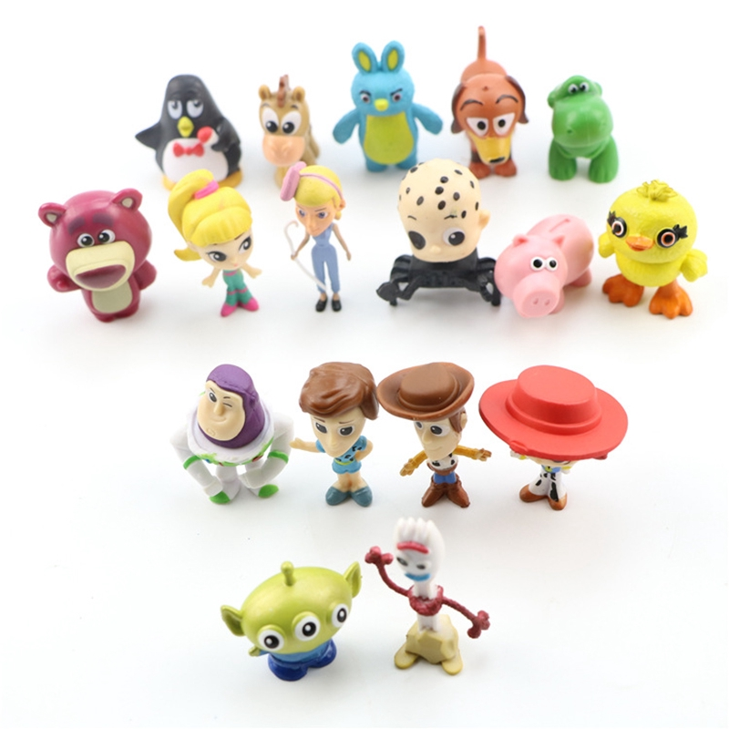Toy Story 4 Set of 17 Collectible Mini Figures Woody Jessie Forky Ducky Bunny