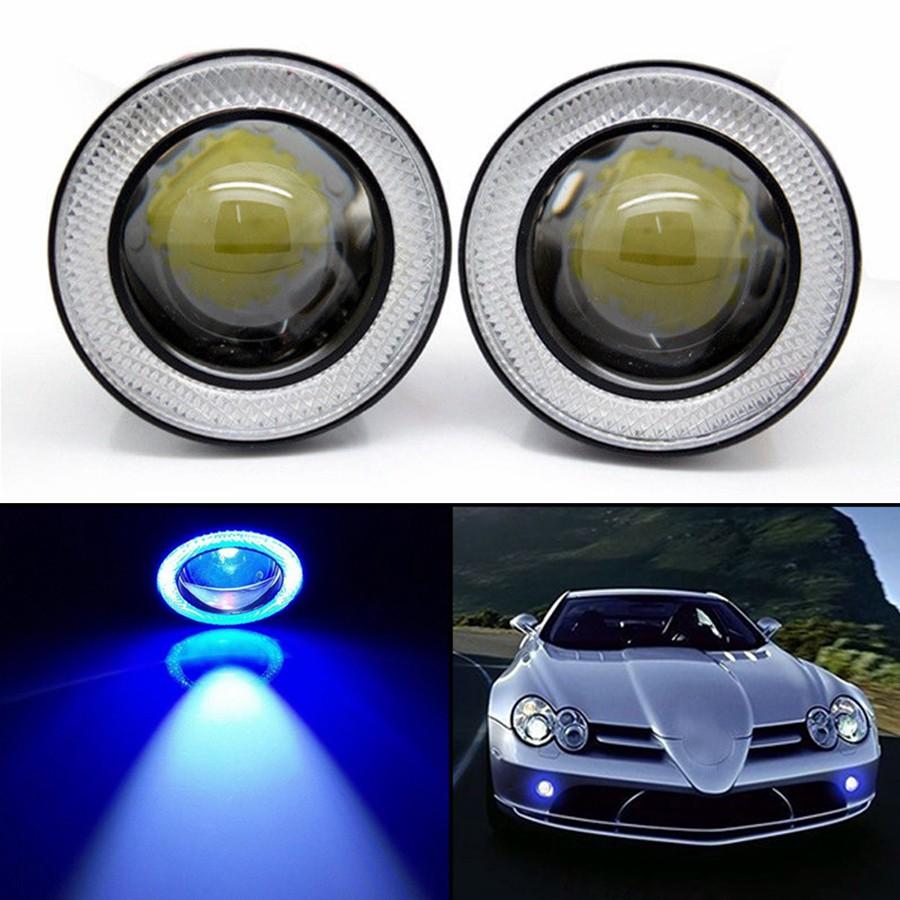 "2.5/"" Blue Projector LED Fog Daytime Running Light DRL COB Halo Angel Eyes Ring k"