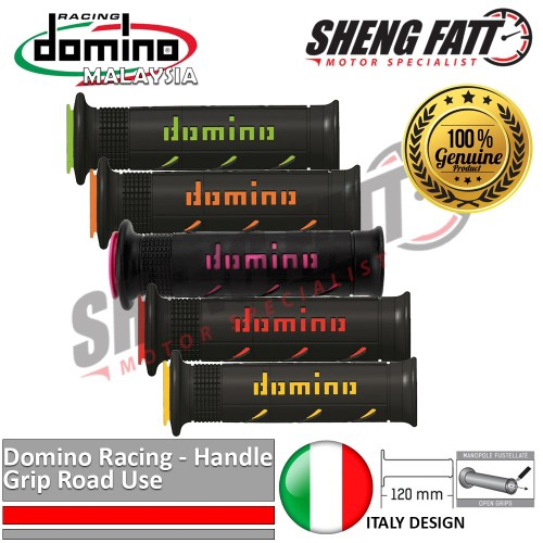 Domino Motorcycle Handlebar Grips XM2 Super Soft Road Compound Black Red Pair