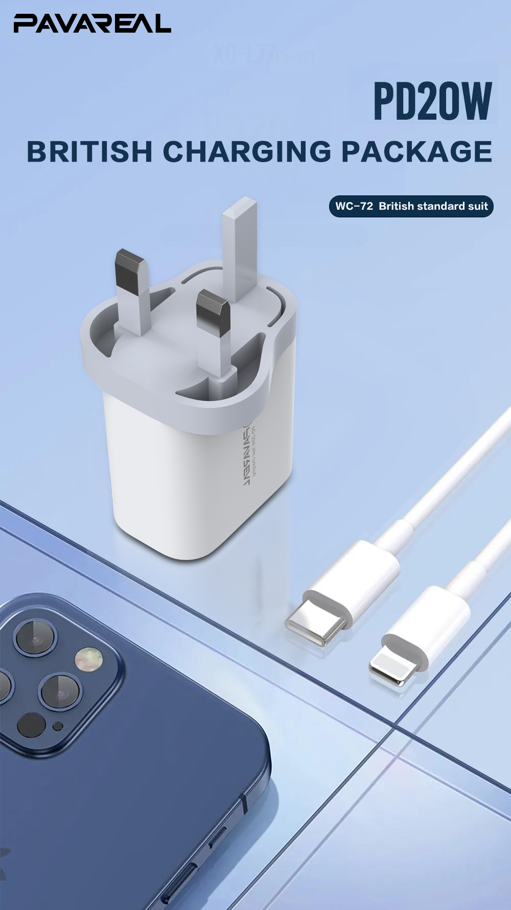 PAVAREAL PA-WC72/72T PD 20W Quick Charge UK Plug Protocol Chip Type C to Lightning for iPhone 12 11 iPad iPod