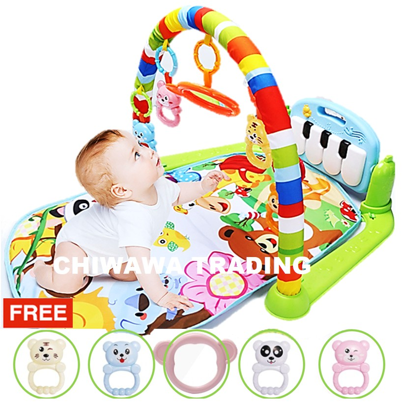 【Free: 1 x Toy Set】Playgym Piano Musical Baby Playmat Crawling Cushion Bedding