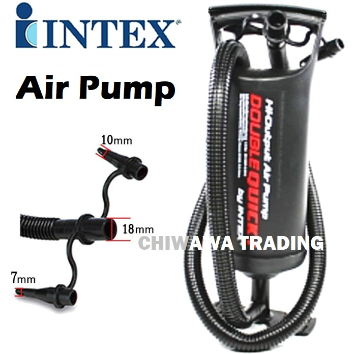 PROMOTION 68612  INTEX Double Quick Fill Inflator Hand Air Pump With 3 Nozzle (29cm)