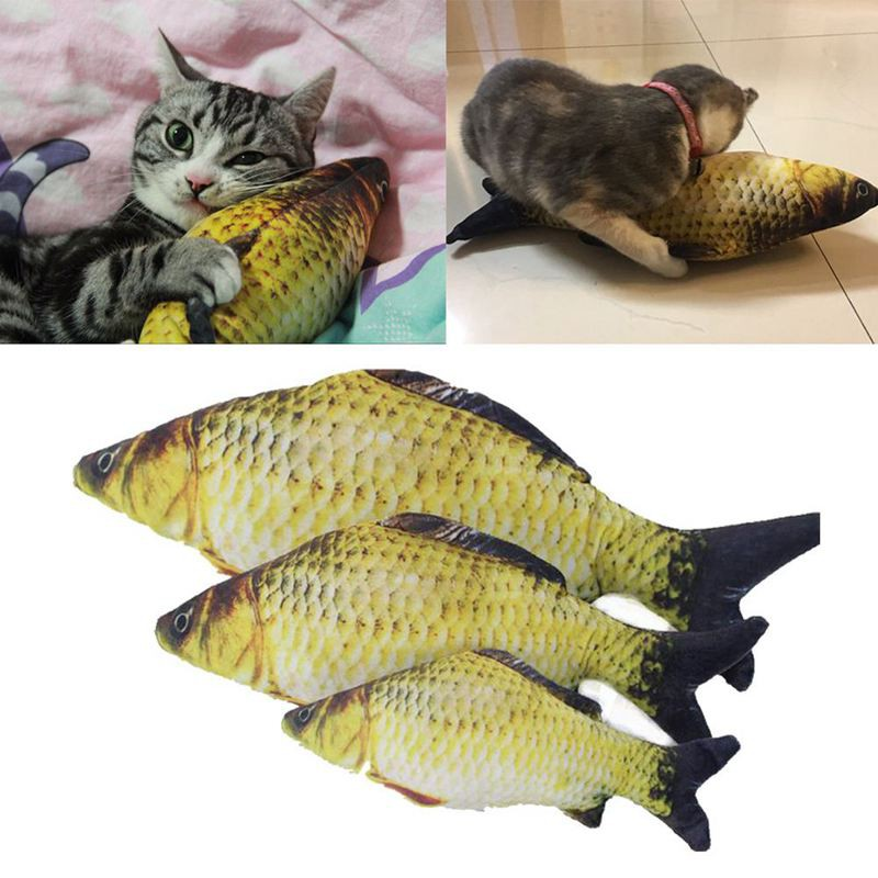 Interactive Fish Shape Pet Cat Kitten Toys Stuffed Mint Play Chewing Scratch Toy