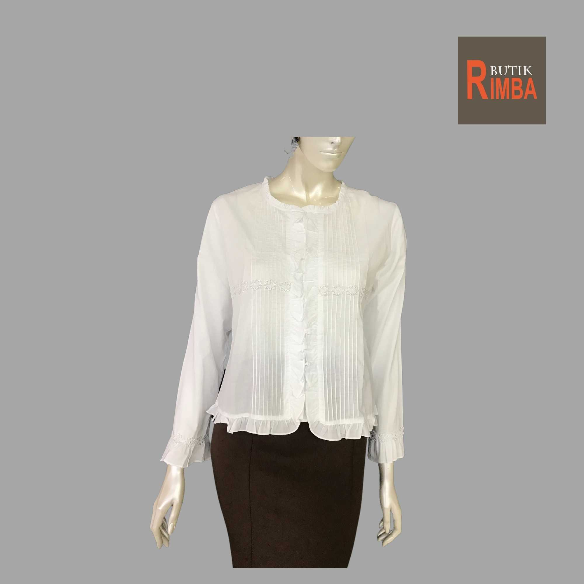 WOMEN CASUAL AND COMFORTABLE WHITE BLOUSE COTTON FREE SIZE PATTERN 12