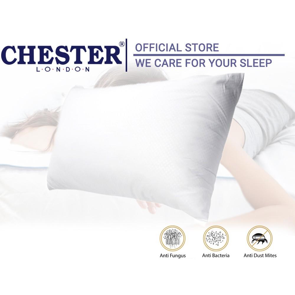 Chester London 10 Holes Pillow Polyster Fibre Anti Fungus Washable Durable Odourless Pillow Bantal Tidur Bantal Hotel