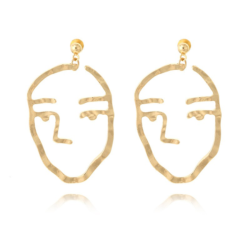 f7a1c29c253fc YGTWO Retro style quirky face design Fun face earrings Abstract contour  design C