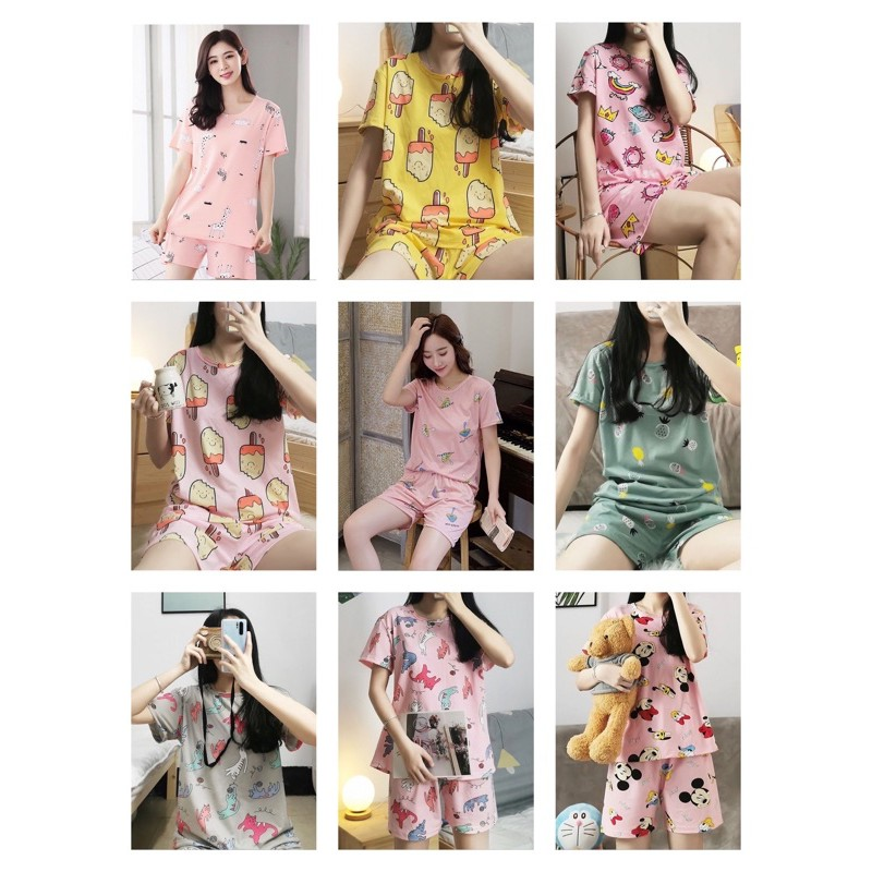 [READY STOCK] WOMEN SHORT SLEEVE & SHORT TROUSER SLEEPWEAR PYJAMAS SET WITH PRINTED DESIGN - FREE SIZE