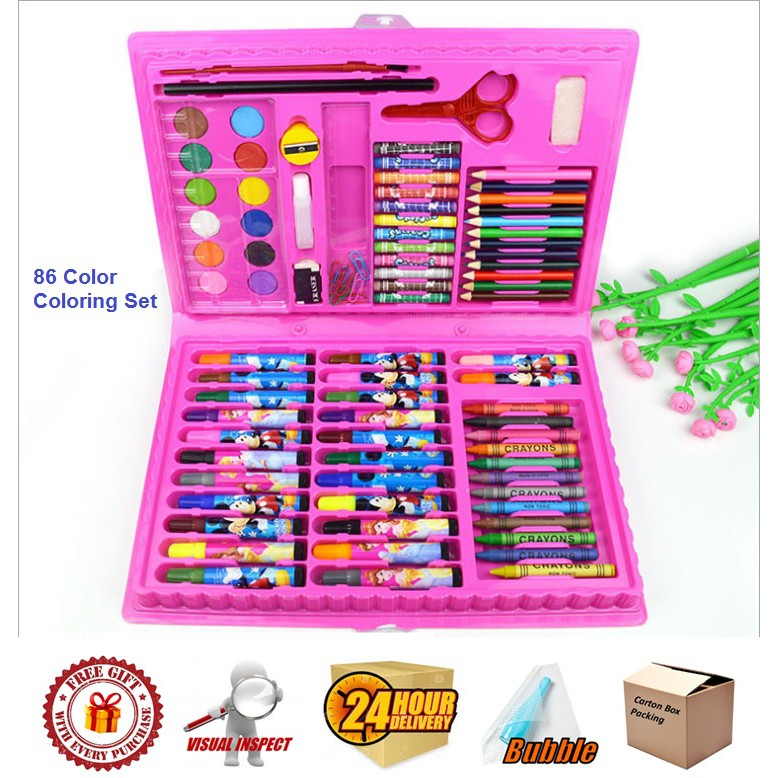 86 Color Coloring Set Hello Kitty/ Mickey/ Frozen/ Spiderman/ Princess