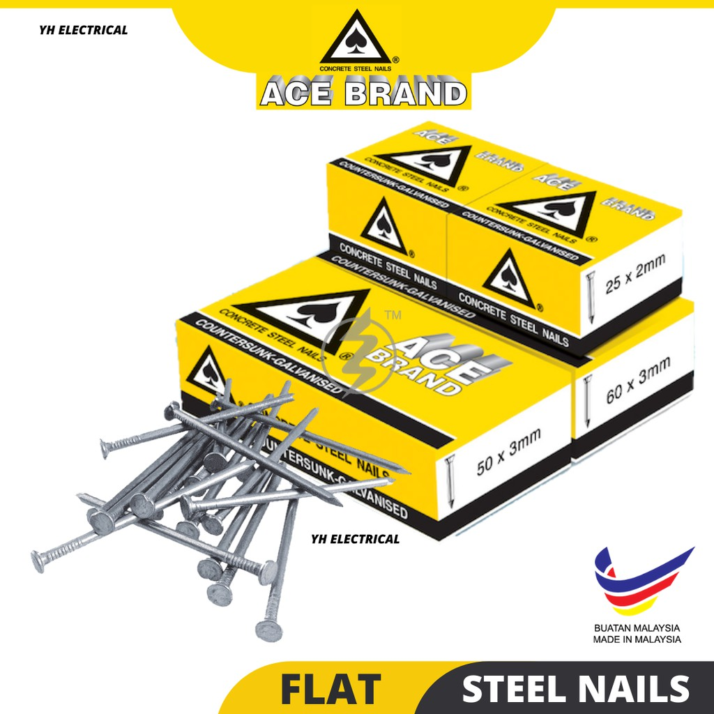 ACE BRAND GALVANISED FLAT HEAD -COUNTERSUNK STEEL CONCRETE NAIL PAKU SIMEN/CEMENT 16mm 20mm 25mm 30mm (Made in Malaysia)