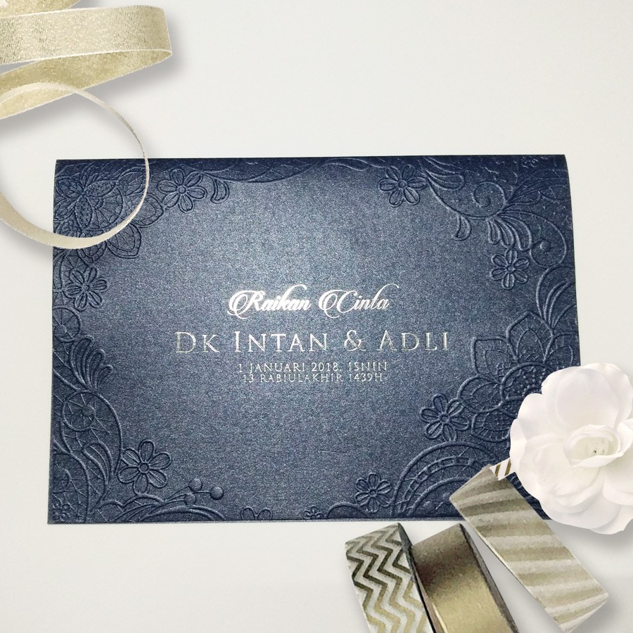 Kad Kahwin Vip Royal Series A5 Dark Blue Metallic Modern Exclusive Wedding Cards Shopee Malaysia